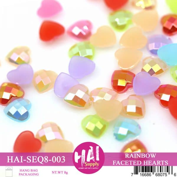 RAINBOW FACETED HEARTS SEQUINS