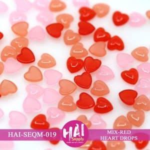 MIX RED HEART DROPS SEQUINS