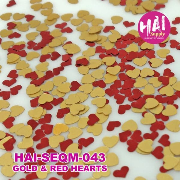gold red hearts sequins