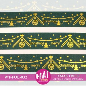 XMAS TREES GREEN & GOLD FOIL