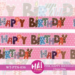 PINK HAPPY BIRTHDAY WASHI TAPE
