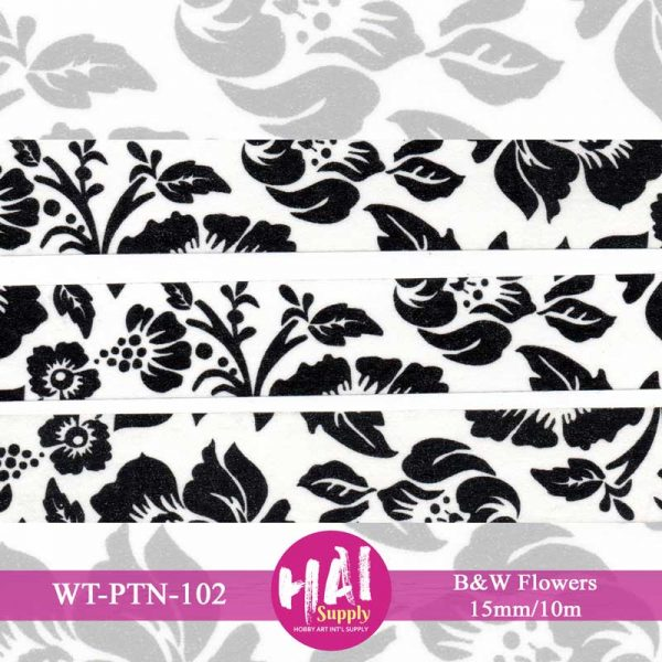 B & W FLOWERS WASHI TAPE