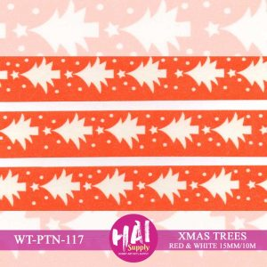 XMAS TREES RED WHITE WASHI TAPE