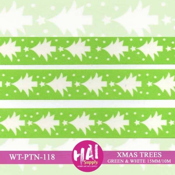XMAS TREES GREEN WHITE WASHI PAPER